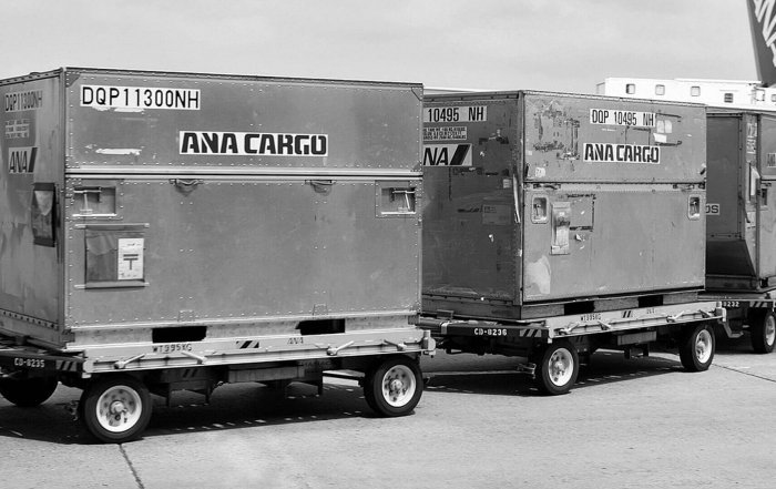 Unit Load Devices Unloaded from ANA Aircraft